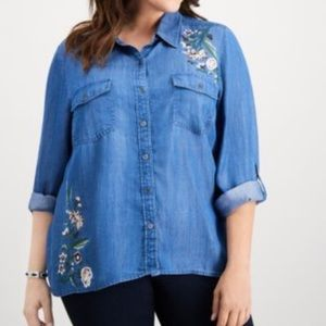 Style & Co Plus Size Lace Up Back Button Down Top